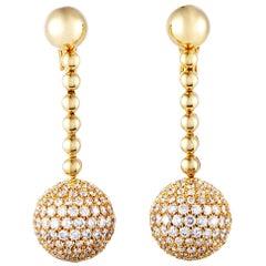 de Grisogono Boule Diamond Omega Back Yellow Gold Earrings