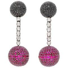 De Grisogono Boule Earrings with Ruby and Diamonds