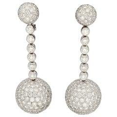 De Grisogono Boule Pavé Diamonds Gold Ball Shaped Pendant Earrings