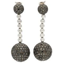 De Grisogono Boule Pavé Diamonds Gold Silver Ball Shaped Pendant Earrings
