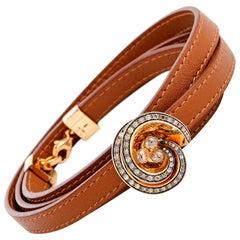 De Grisogono Chiocciolina 18 Karat Gold Diamond Brown Leather Cord Wrap Bracelet
