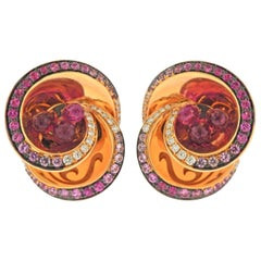 De Grisogono Chiocciolina Diamond Pink Sapphire Rubellite Gold Earrings