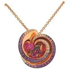 De Grisogono Chiocciolina Diamond Pink Sapphire Rubellite Gold Necklace