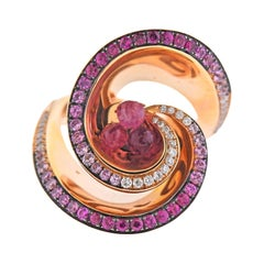de Grisogono Chiocciolina Gold Rubellite Pink Sapphire Diamond Ring