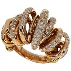 De Grisogono Diamond 18 Karat Pink Gold Sole Ring