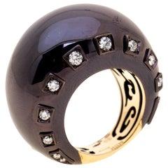 De Grisogono Diamond Ceramic Coated 18k Rose Gold Cocktail Ring Size 50