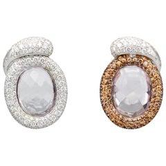 De Grisogono Diamond Colored Sapphire Kunzite 18 Karat Gold Reversible Earrings
