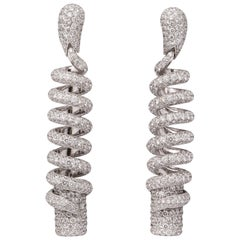 de Grisogono Diamond Pave White Gold Snake Earrings