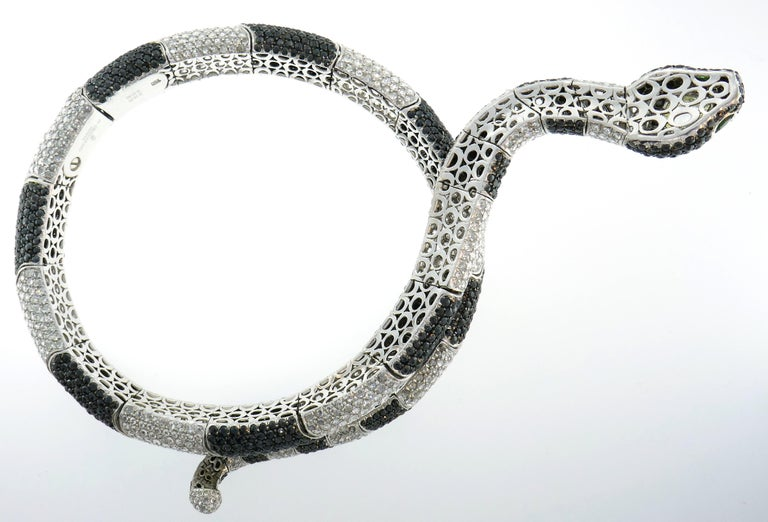 De Grisogono Diamond White Gold Snake Necklace For Sale 2
