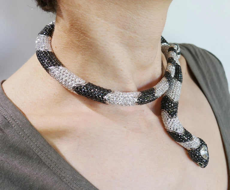De Grisogono Diamond White Gold Snake Necklace For Sale 4