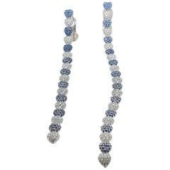 De Grisogono Gold Diamond Sapphire Asymmetrical Earrings