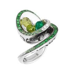 de GRISOGONO Gold Diamonds Tsavorites Emeralds Peridots Cocktail Ring