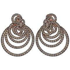 De Grisogono Gypsy 22 Carat Champagne Diamond Gold Earrings