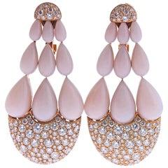 de Grisogono India Rose Gold 7.50 Carat Diamond Pink Opal Earrings