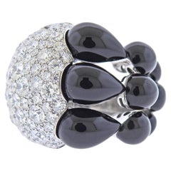 De Grisogono India White Gold 7.65 Carat Diamond Onyx Ring