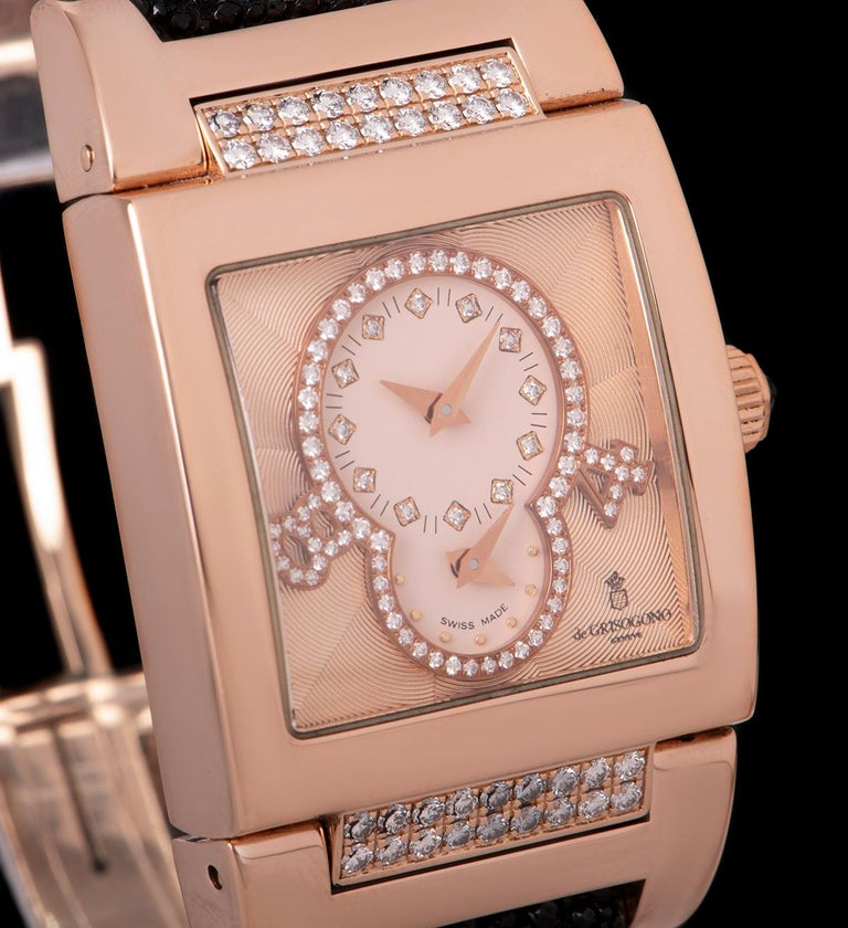 Round Cut De Grisogono Instrumentino Dual Time Rose Gold Salmon Dial Guilloche Diamond Set For Sale