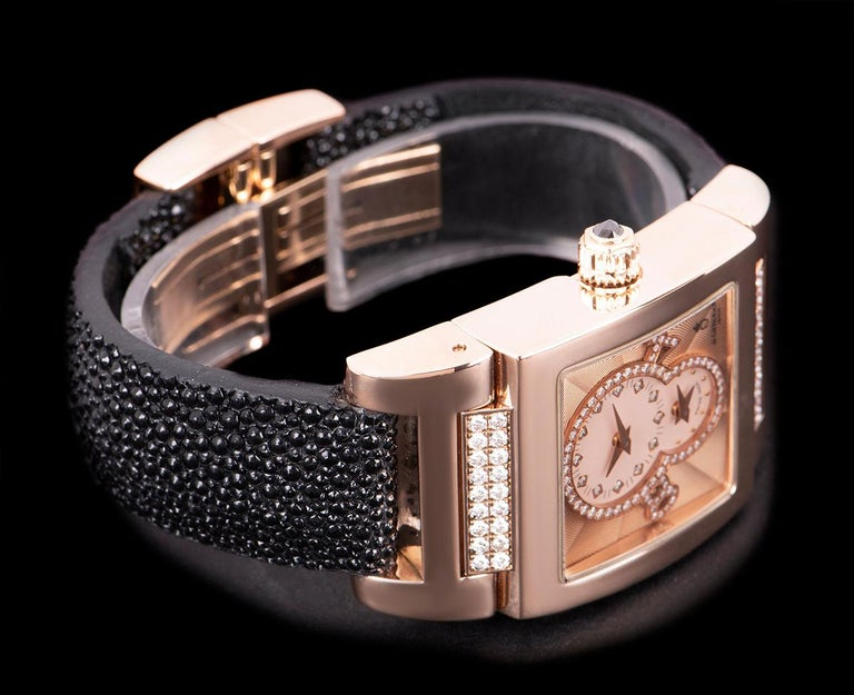 De Grisogono Instrumentino Dual Time Rose Gold Salmon Dial Guilloche Diamond Set In Excellent Condition For Sale In London, GB