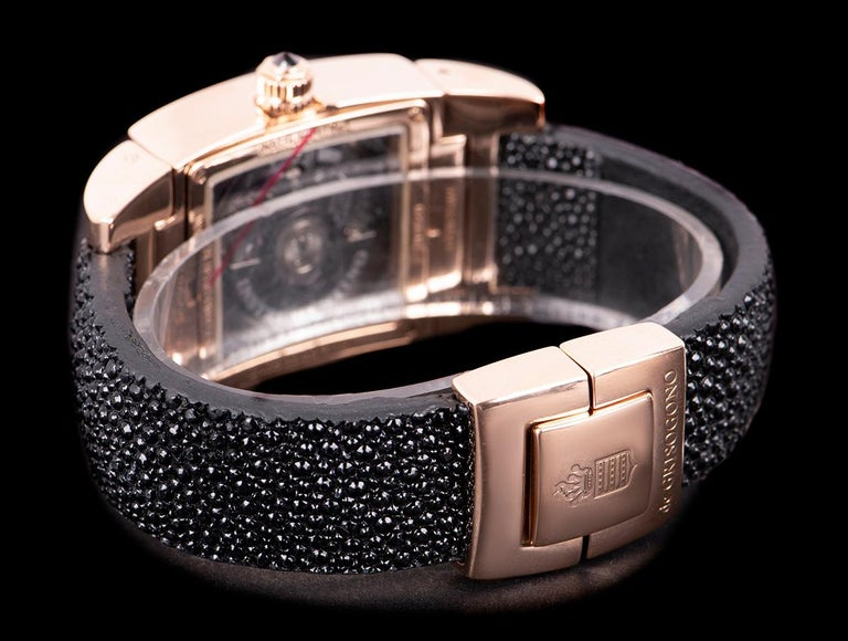 Women's De Grisogono Instrumentino Dual Time Rose Gold Salmon Dial Guilloche Diamond Set For Sale