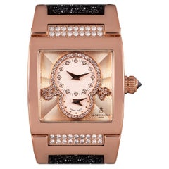 De Grisogono Instrumentino Dual Time Rose Gold Salmon Dial Guilloche Diamond Set