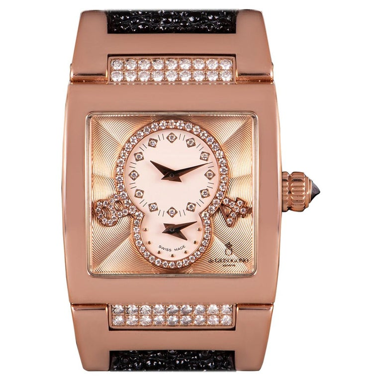 De Grisogono Instrumentino Dual Time Rose Gold Salmon Dial Guilloche Diamond Set For Sale