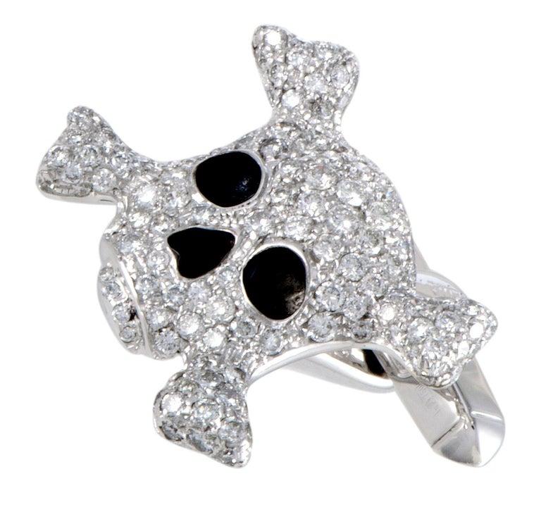Round Cut de Grisogono Intimo 18 Karat Gold Full Diamond and Black Enamel Skull Cufflinks For Sale