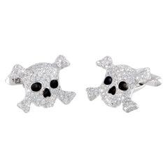 de Grisogono Intimo 18 Karat Gold Full Diamond and Black Enamel Skull Cufflinks