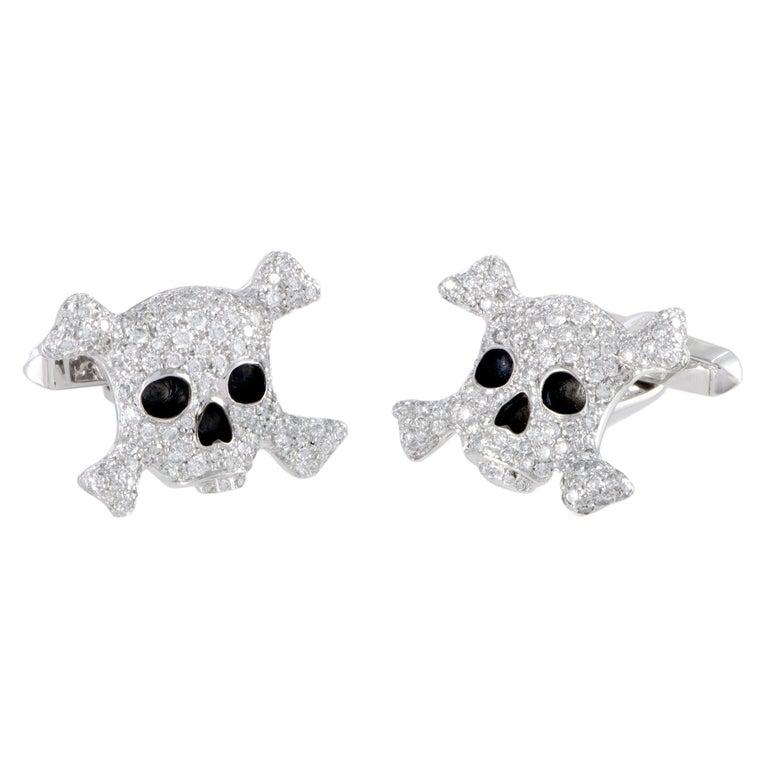 de Grisogono Intimo 18 Karat Gold Full Diamond and Black Enamel Skull Cufflinks For Sale