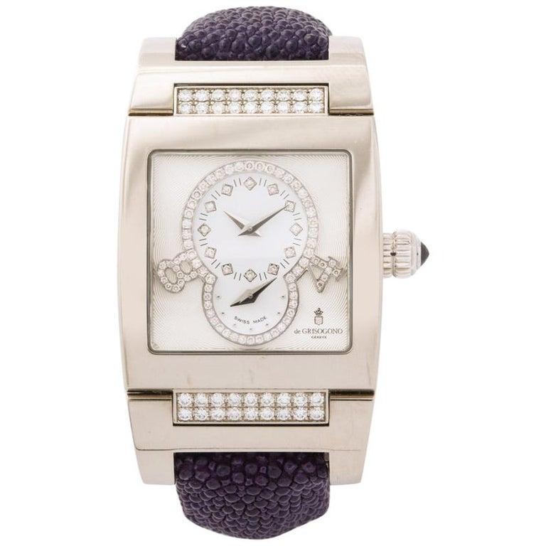 De Grisogono Ladies White Gold Diamond Instrumentino Watch For Sale