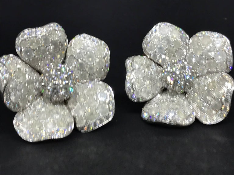De Grisogono Large 18 Karat White Gold Pave Diamond Earrings For Sale 6