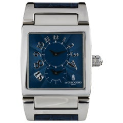 De Grisogono Limited Edition Platinum Blue Dial Instrumento Dual Time Watch