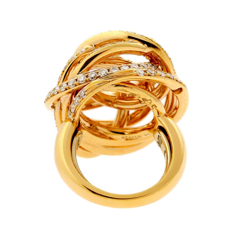 De Grisogono Matassa Diamond Rose Gold Ring In Excellent Condition For Sale In Feasterville, PA