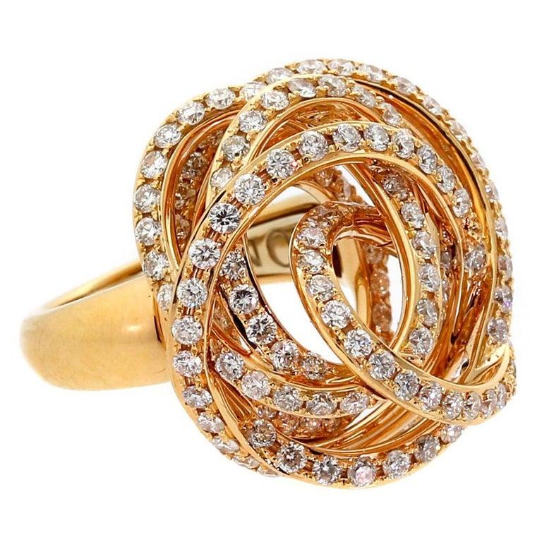 De Grisogono Matassa Diamond Rose Gold Ring For Sale