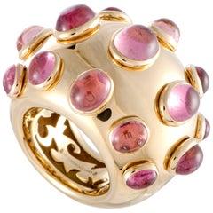 de Grisogono Melagrama 18 Karat Yellow Gold Pink Tourmaline Bombe Ring
