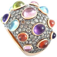 De Grisogono Melagrama 18 Karat Rose Gold Diamond, Topaz, Amethyst, Peridot