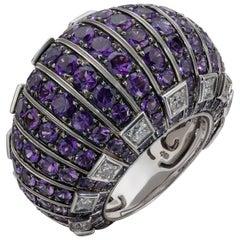 de GRISOGONO 'MOSAICA' Gold Amethysts Diamonds Style Bombé Cocktail Ring