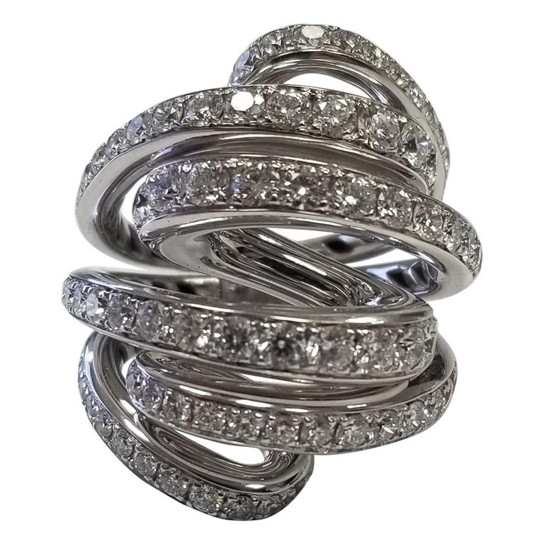 De Grisogono Nouvelle Vortice Collection 18 Karat Diamond Cocktail Ring For Sale