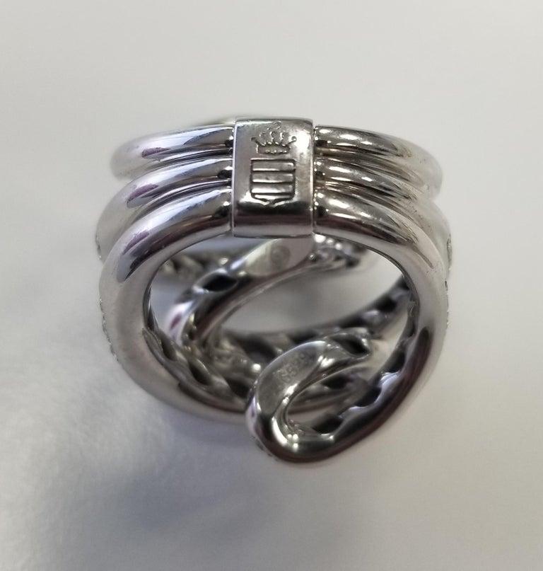 Women's or Men's De Grisogono Nouvelle Vortice Collection 18 Karat Diamond Cocktail Ring For Sale