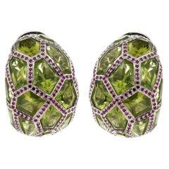 De Grisogono Peridot Ruby White Gold Hoop Earrings