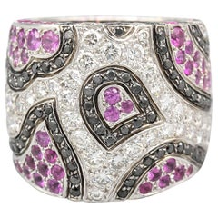 De Grisogono Pink Sapphire Black White Diamond 18 Karat White Gold Ring