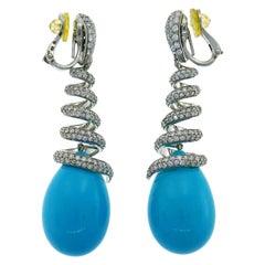 De Grisogono Turquoise Diamond White Gold Earrings