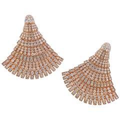 De Grisogono Ventaglio Rose Gold 18.3 Carat Diamond Earrings