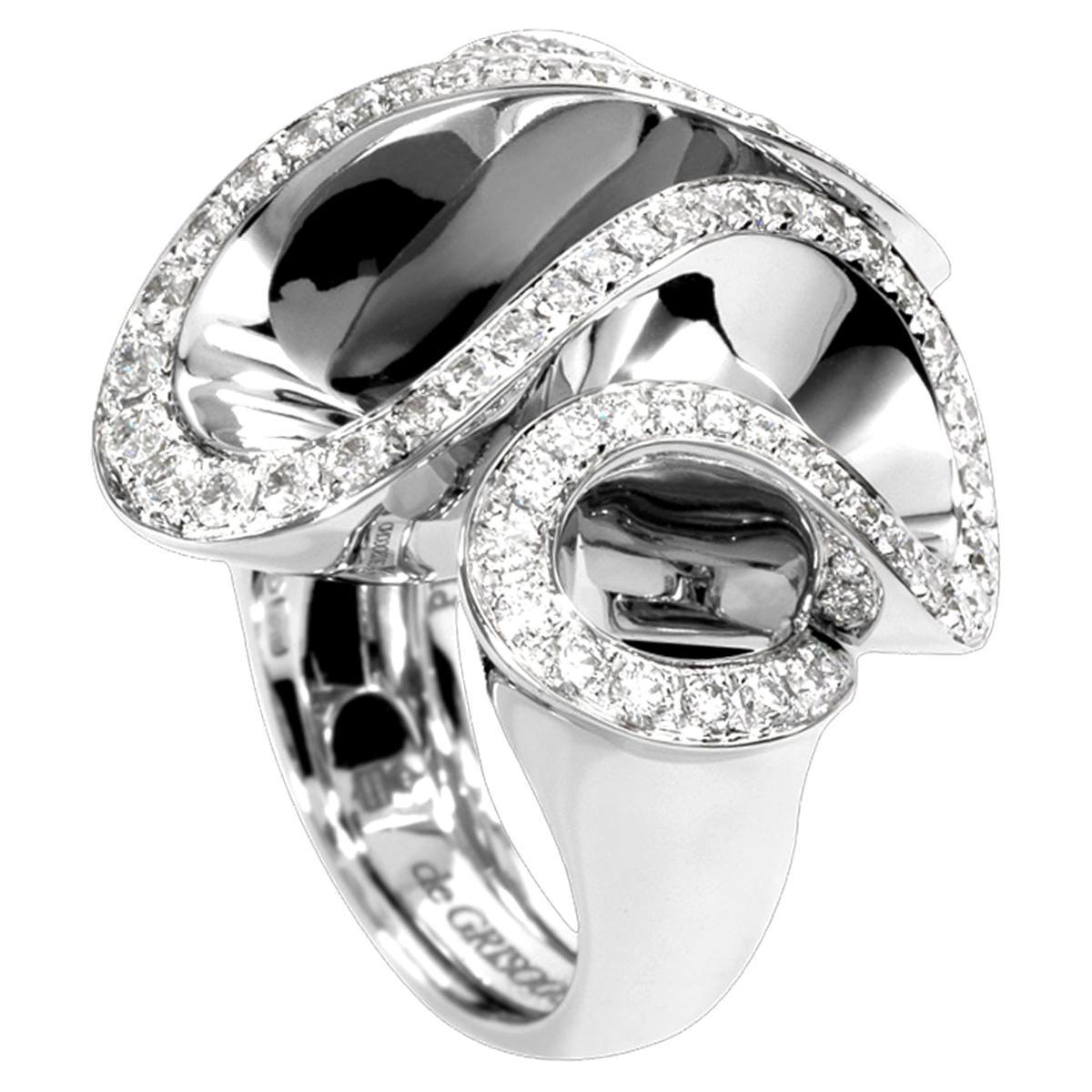 De Grisogono White Gold Diamond Cocktail Ring