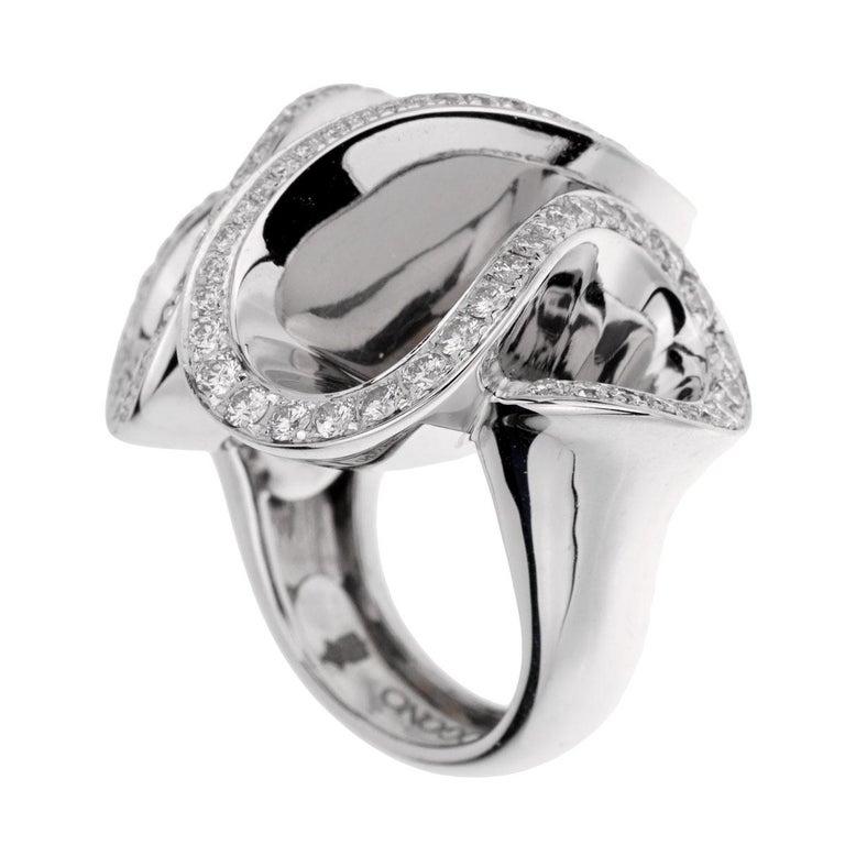Round Cut De Grisogono White Gold Diamond Zigana Cocktail Ring For Sale