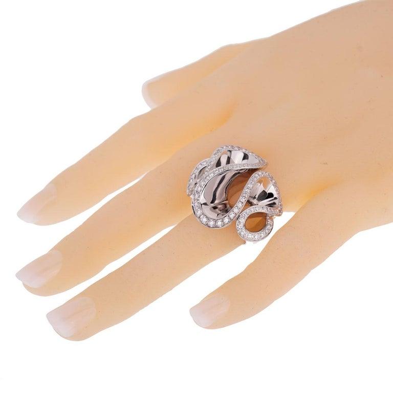 Women's De Grisogono White Gold Diamond Zigana Cocktail Ring For Sale