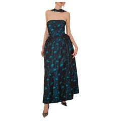 1950s Black and Turquoise Flame Stitch Brocade Evening Dress