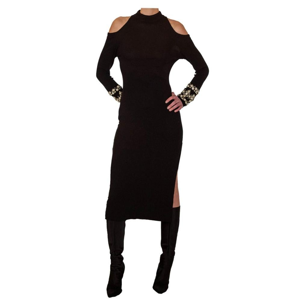 1970s JIKI Black Knit Dress With Beaded Sleeves