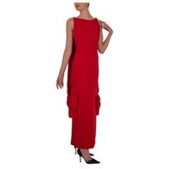 Early 1980's Michael Novarese Red Silk Drape Column Dress
