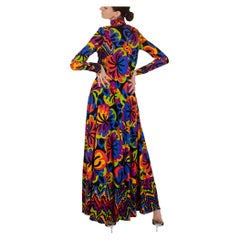 Frank Usher Multicolour Psychedelic Print Maxi Dress 1970s