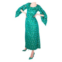 Frank Usher Turquoise Brocade Dress Late 1960s