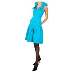 Murray Arbeid Blue Topaz Silk Moiré Dress With Bows 1980s